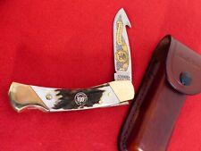 "Schrade USA 2004 Genuine STAG 5"" Guthook NAHC Lockback Knife & sheath MINT"