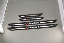 4x Mitsubishi Carbon Fiber Car Door Welcome Plate Scuff Cover Stickers Panel Fits Mitsubishi Diamante