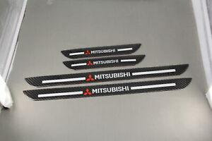 4x Mitsubishi Carbon Fiber Car Door Welcome Plate Scuff Cover stickers Panel
