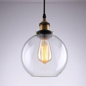 Modern Vintage Industrial Retro Loft Glass Ceiling Round Shade Pendant Light