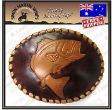 Leather Belt Buckle Unique Handcrafted Carved  - Fish Design - Made in Tasmania