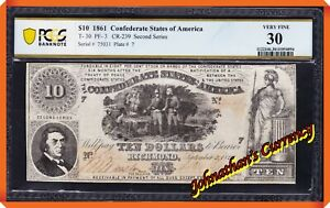 JC&C - T-30 1861 $10 Confederate States of America - VF 30 by PCGS Banknote