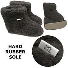 New Women's Mens 100% Sheep Wool CHARCOAL Sheepskin Boot Slippers Durable Sole