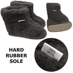 New Women's Mens 100% Sheep Wool CHARCOAL Sheepskin Boot Slippers Durable Sole