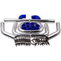 "2.5"" 64mm Aluminum Universal Intercooler Turbo Piping pipe Kit and Blue hose kit"