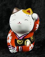 Figura Gato Japonés Bobtail Resina-Maneki-Neko-Kimono Rojo Naranja 280 CA6
