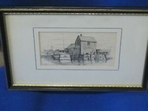 Etching of Rockport Massachusetts by Clarke M.Goff 1966 marked motif 1
