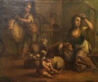 FAMILY OF PEASANTS. OIL ON CANVAS. ANCIENT FRAME. SPAIN. CENTURY XVIII