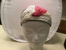 Ladies Vintage Hat Vincent De Koven Blue Pink White Lined Interior