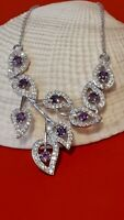 Natural Purple Amethyst & White CZ 925 Sterling Silver Necklace.