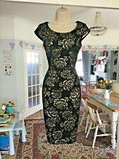 VGC Size 8 HOBBS Black Gold Metallic Jacquard Floral Rose Pencil Occasion Dress~