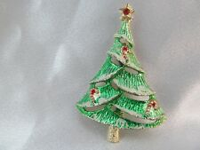 Vintage GOLD & GREEN ENAMEL DIMENSIONAL CHRISTMAS TREE PIN BROOCH signed B.J.