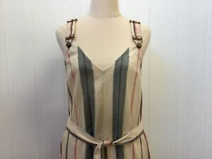 WOMENS BILLABONG BELLA DAY STRIPED OVERALLS ROMPER SIZE LARGE EXCELLENT COND.