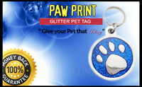 """""""Blue Paw Glitter  Personalised Pet ID tag - Cat-Dog Large Free Engraving"""