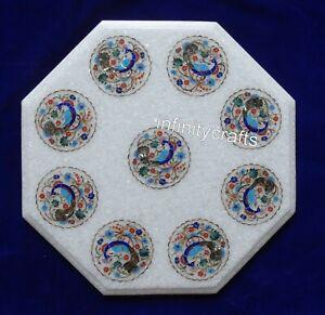 "18"" Marble Coffee Table Top Peacock Design Inlaid Patio Table for Garden Decor"