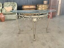 Wrought Iron Glass Console Table Sofa Entry Living Room Furniture Accent Euc