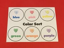 (Set of 10) Valentine Hearts Color Sort Learning Mat - Laminated - Pre school