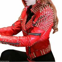 WOMENS HANDMADE GOLD STUDDED COWHIDE SOFT PREMIUM LEATHER JACKETS IN ALL SIZES
