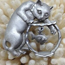 Signed JJ Vintage CAT PLAYING GOLDFISH BOWL BROOCH PIN Fish Pewter Jewelry