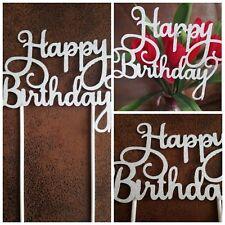 Happy Birthday Cake Topper Geburtstags Torten Stecker,Deko,Kuchen Glitzer SILBER