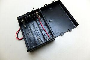 Batteriehalter Akkuhalter 3xMignon AA mit Schalter 4,5V, Batteriefach Schwarz