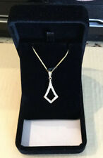 "14K Yellow Gold Necklace 16"" With Open Teardrop Diamond Pendant, 5.3 Grams"
