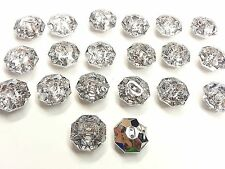 AB10- 20 x 20mm CLEAR Octa Faceted Acrylic Crystal Diamante Rhinestone Buttons