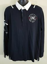 Canterbury Of New Zealand Men's Black Long Sleeve Rugby Football Polo Shirt Sz L