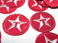 2 VINTAGE TEXACO DRIVER GAS FUEL MOTOR OIL UNIFORM PATCH SIGN CIRCLE T STAR red