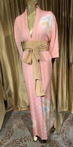 Vintage Silk Kimono Long Robe With Sash Lined Peachy Pink Fan Design