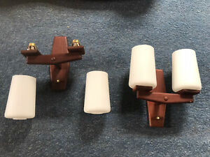 Pair Of Vintage 70s Teak Wall Lights With Shades