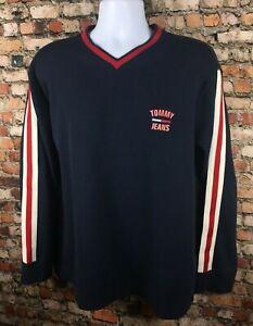 Vintage 90s Tommy Hilfiger Spellout Embroidered V Neck Sweater Stripe Flag Large