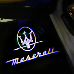 2x LED Door Courtesy Shadow Welcome Light for Maserati Ghibli 14-20 Trident logo