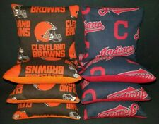 Set Of 8 Cleveland Browns Indians Cornhole Bags Quality FREE SHIPPING