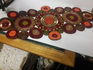 """Pier 1 Beaded Table Scarf 16"""" by 31 1/2"""" Circles Reds"""