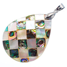 """Mother of Pearl Natural Abalone Sea Shell Teardrop Pendant 1 3/4"""" Jewelry #02-Z"""