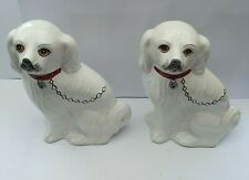More details for pair of large white porcelain spaniel dogs rc & cl - made in portugal