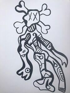 Hasworld original Ink Drawing, painting Signed,pop Art,kaws,street Art,urban