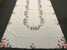"""SALE 72x126"""" Large Rectangular Colored Floral Embroidered  Embroidery Tablecloth"""