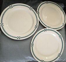Trois Assiettes Art Nouveau Creil Montereau, Labrador, service Nancy, en bleu