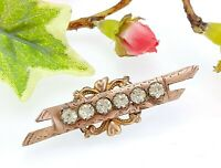 Antique Victorian Rose Gold Plated & Paste Glass Sweet heart Brooch