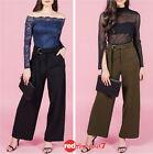 Womens Work High Waist Corporate Wide Leg Stretch Pants Trouser Black Size 10 12