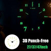 27/8cm DIY Horloge Murale Silencieux Grand Quartz Lumineux Nuit 3D