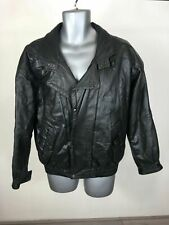 Men's Classic Man Collection Black Leather Zip Up Press Stud Jacket Size Medium