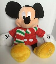Disney Store 2010 MICKEY MOUSE Nice Winter Stuffed Plush Red Coat Scarf