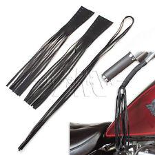 "Black 12"" Leather Motorcycle Brake Lever Covers Biker Clutch Fringe Long Tassels"