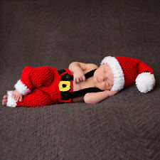 Newborn Baby Red Christmas Costume Photography Knit Crochet Props Outfit Hat Set