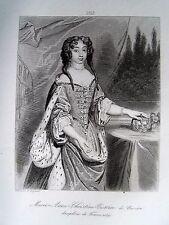 c49-8b Gravure 1860 portrait Marie Anne Christine Victoire de Bavière dauphine