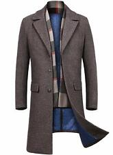 INVACHI Men's Winter Warm Long Wool Coat - Free Detachable Wool Scarf, Coffee, L