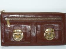 Marc Jacobs Brown Leather Clutch Wallet With Buckles Zip Closure Made In Italy